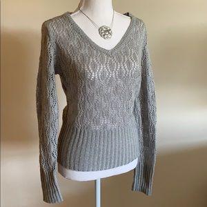 Worthington Silver open weave sweater